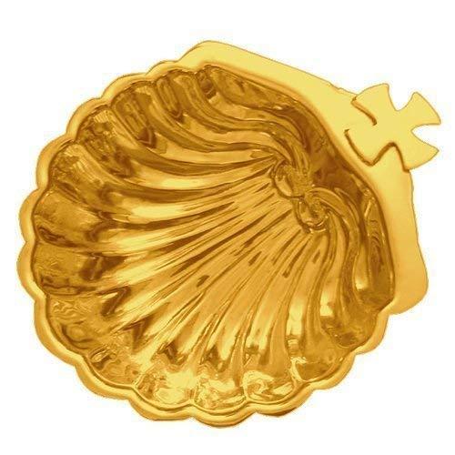 R. Heaven Catholic church baptism baptismal shell hand-worked polished brass 13cm