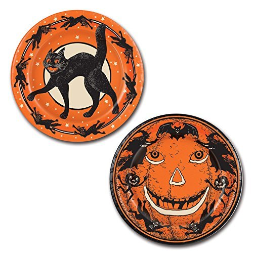 Beistle Halloween Plates, 9-Inch, Orange (3-Pack) ()