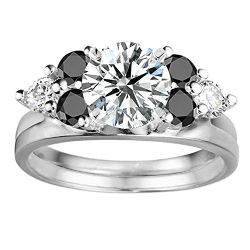Black Cz Engagement Ring Jacket in Sterling Silver (0.12Ct) Size 3 To 15 in 1/4 Size Interval by TwoBirch (Image #1)