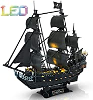 CubicFun 3D Puzzle Pirate Ship with LED Light Queen Anne's Revenge, Sailboat Vessel Model Kits Difficult Puzzles for Adults
