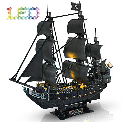 Cubicfun 3D Puzzles Pirate Ship with LED Light Queen Anne's Revenge, Sailboat Vessel Model Kits Puzzles for Adults and Children, 340 Pieces (Pirates Of The Caribbean Queen Annes Revenge Ship)