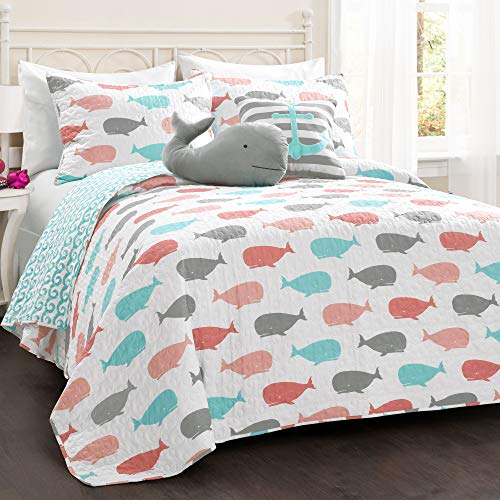 Lush Decor Whale Kids Reversible 4 Piece Quilt Bedding Set with Sham and Decorative Throw Pillows, Twin, Pink and Aqua