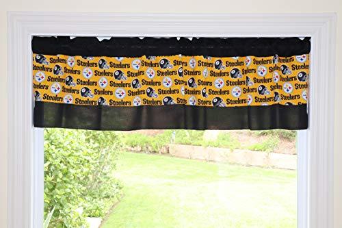(lovemyfabric Pittsburgh Steelers Striped Poplin Black Cotton Yellow Mix NFL Sports Teams Window Valance/Kitchen Bedroom Nursery Kids Room Window Decor (16