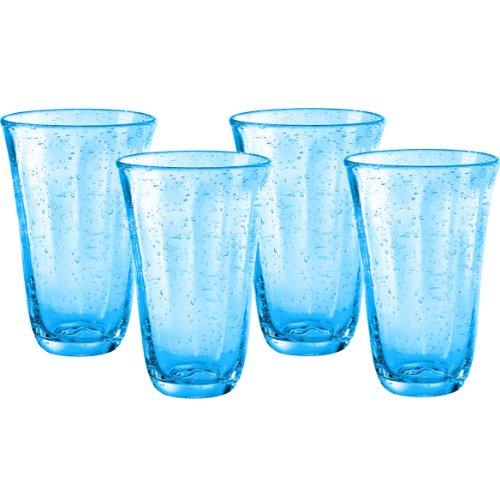 Artland Savannah Turquoise Bubble Glass 18 Ounce Highball Tumbler, Set of 4 -
