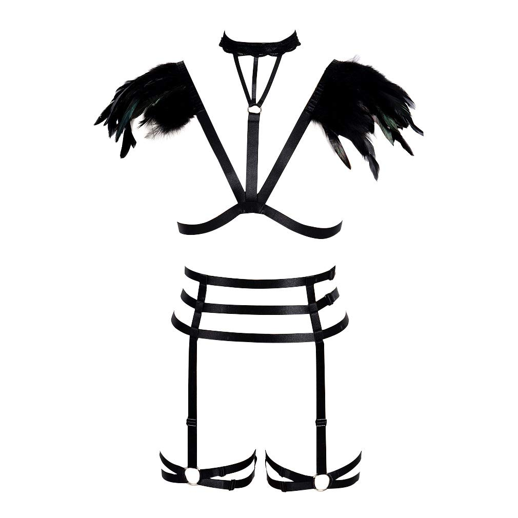 BODY CAGE Feather Harness Bra Garter Womens Strappy Punk Goth Dance Accessories Suit Underwear Black