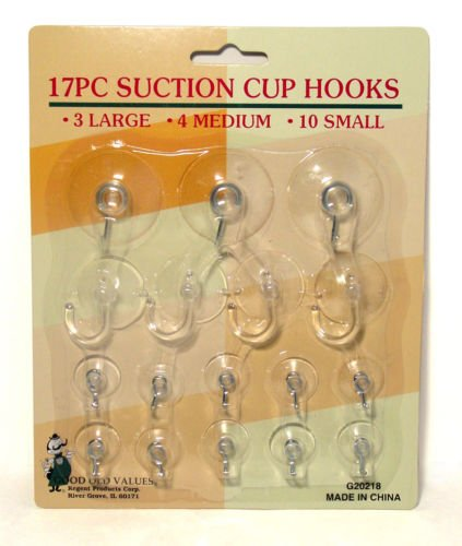 17pc Suction Cup Hook Clear Glass Window Wall Sucker Hanger Kitchen Bathroom
