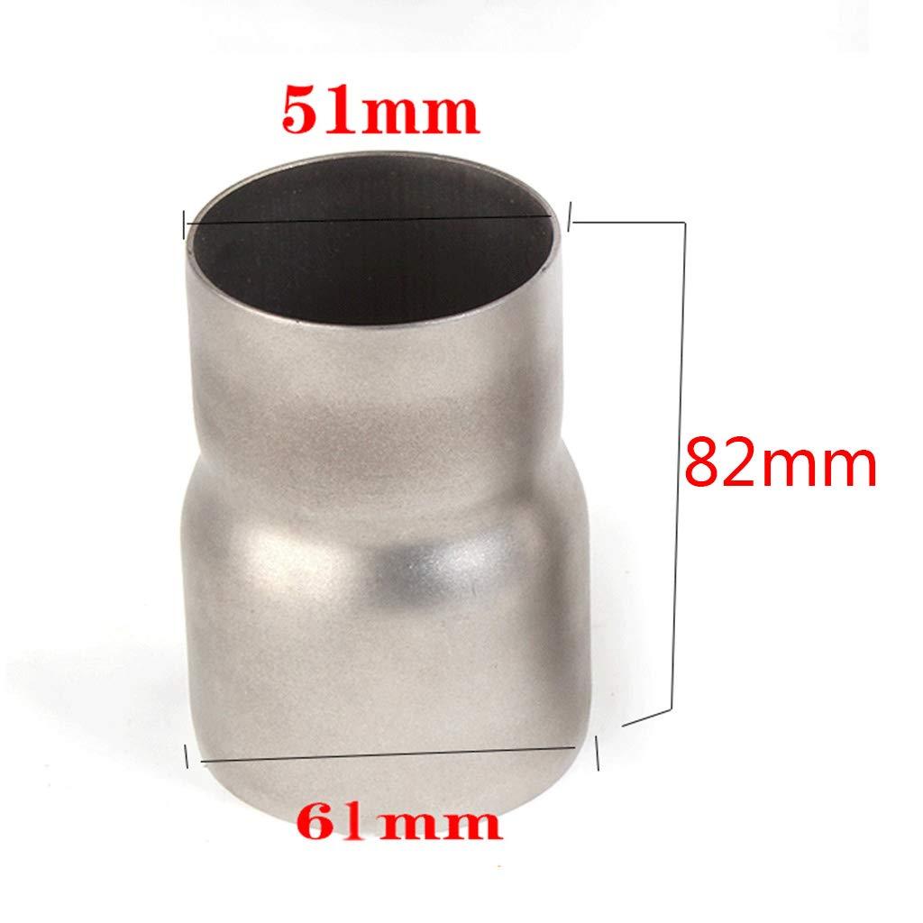 Viesky de acero inoxidable de 51 mm a 61 mm reductor de silenciador Adaptador universal para tubo de escape de motocicleta de 5 cm de di/ámetro exterior a 6,35 cm de di/ámetro exterior