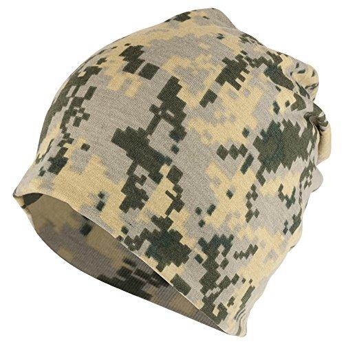 Armycrew Digital Camouflage Polyester Jersey Knit Lightweight Soft Beanie Cap - - Jersey Hat Lightweight