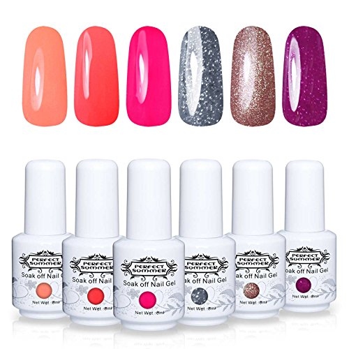 Perfect Summer Gel Nail Polish Starter Kit - 6PCS Neon Color