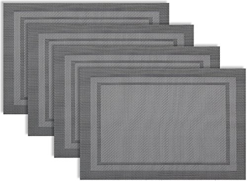 Placemat Set of 4/6 Duo Rectangle Kitchen Table Decor Woven Vinyl Table Placemats Set Home Dinner Decorative Reversible by Secret Life (4,Duo Rectangle Silver/ Gray)
