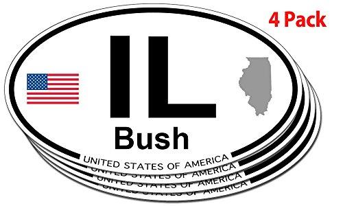 Bush, Illinois Oval Sticker - 4 pack