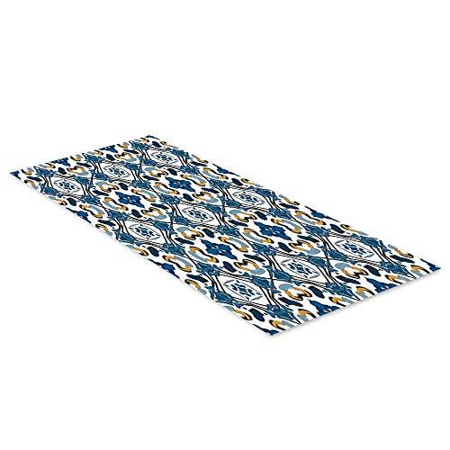 C COABALLA Traditional House Decor Waterproof Floor Sticker,Portuguese Ceramic Classic Tilework Building Artisan European Image Print for Kitchen Living Room,35.4