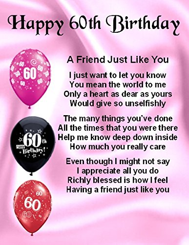 Personalised Fridge Magnet Friend Poem 60th Birthday Free Gift Box Amazoncouk Kitchen Home