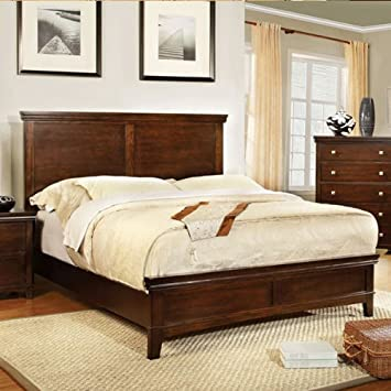 Dunhill Transitional Style Brown Cherry Finish Queen Size Bed Frame Set