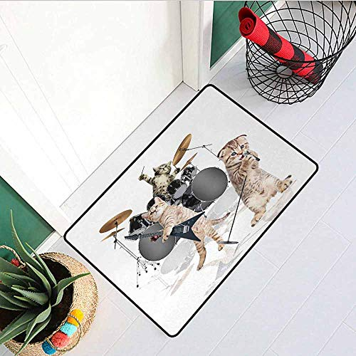 (GloriaJohnson Animal Welcome Door mat Cool Fancy Hard Cute Rocker Band of Kittens with Singer Guitarist Cats Artwork Print Door mat is odorless and Durable W15.7 x L23.6 Inch Multicolor)