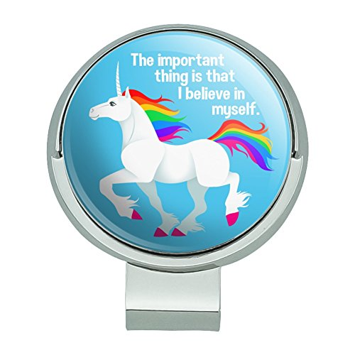 GRAPHICS & MORE Unicorn The Important Thing is That I Believe in Myself Golf Hat Clip with Magnetic Ball Marker