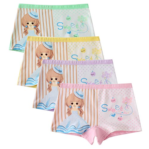 Toddlers Girls Sweet Princess Boyshorts Underwear Pajamas Shorts Candy Colors 4 Pack