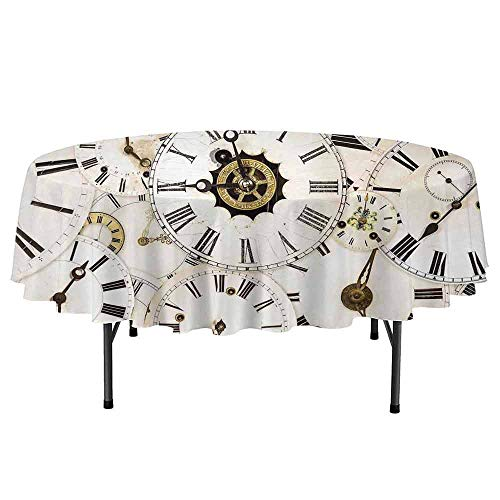 Curioly Antique Printed Round Tablecloth Collection of Vintage Classic Clock Faces Aged Analog Time Head Minute Hour Print Desktop Protection pad D59 Inch White -