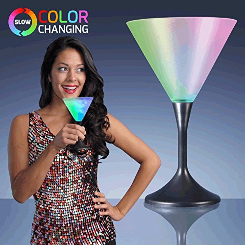 blinkee Martini Drinking Glass with Black Stem by