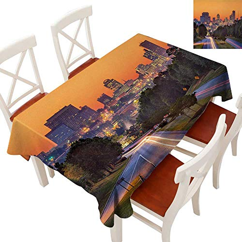 Rectangle Tablecloth Washable Polyester - Great for Buffet Table, Parties, Holiday Dinner, Wedding & More Skyline of Columbia City South Carolina Main Street Urban Scene Orange Dark Green Blue 54
