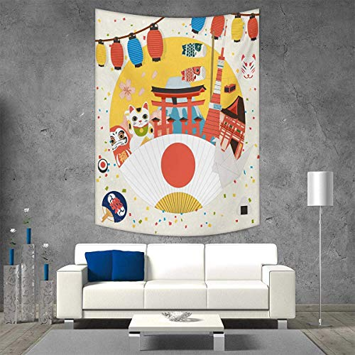 smallbeefly Lantern Tapestry Wall Tapestry Japanese Inspired Commercial Pattern Various Asian Culture Items Cool Cat Origami Art Wall Decor 51W x 60L INCH Multicolor by smallbeefly