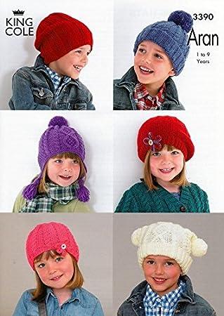 King Cole Childrens Hats Comfort Aran Knitting Pattern 3390 Amazon