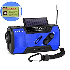 51JeO prz%2BL. SS300  - IntiPal 2000mAh Emergency Solar Hand Crank Radio with AM/FM/NOAA Weather Channel, 1W LED Bright Zoom Flashlight, 4 LED Reading Lamp, Support 4 Ways to Charge - with Emergency Blanket