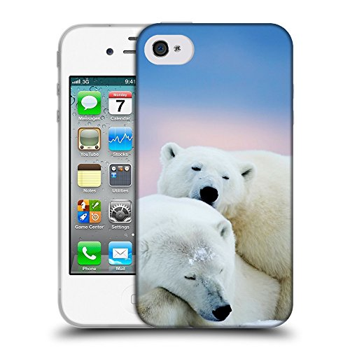 Just Phone Cases Coque de Protection TPU Silicone Case pour // V00004074 Dormir ours polaires // Apple iPhone 4 4S 4G