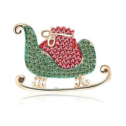 (Christmas Series Sleigh Pull Cart Christmas Brooch)