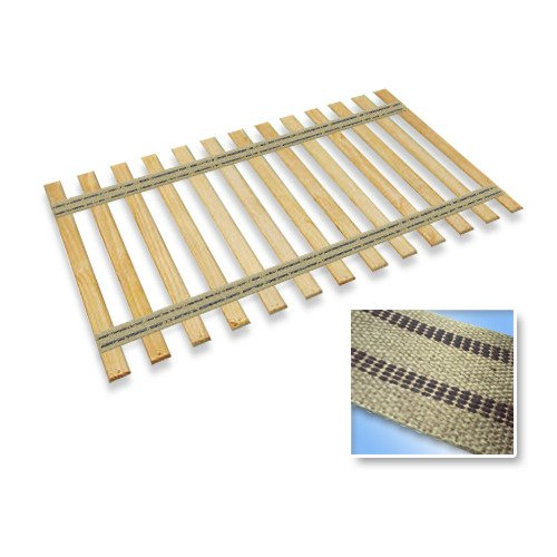 Full Size Custom Bed Slats With Black Stripe Burlap Straps-Help Support Your Box Spring and Mattress