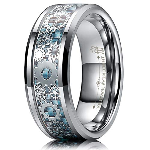 Three Keys Jewelry 8mm Tungsten Rings Silver Punk Seal Gear Mechanical Light Blue Carbon Fiber with Metal Foil Inlay Wedding Bands for Men Size 9 (Mens Gear Ring)
