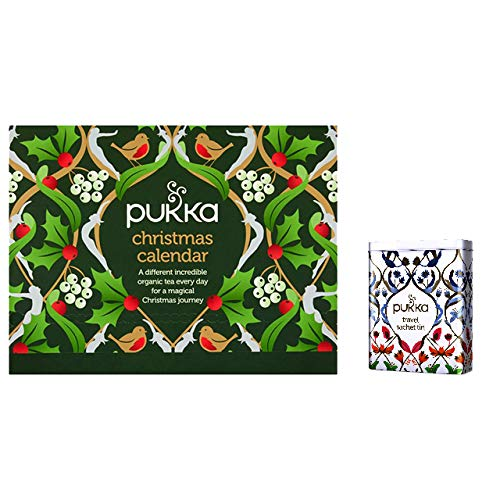 Pukka Christmas Advent Calendar | 24 Tea Sachets | Travel Gift Tin and Tea Advent Calendar | Christmas' Tea Lover's Advent Calendar | by Pukka