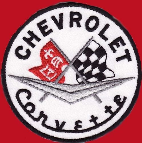 CORVETTE RACING CHECKER FLAG EMBROIDERED 3 INCH ROUND PATCH for Accessories - Bags/Purses, Apparel - Coat/Jacket, Apparel - Jeans/Pants, Children, Crafts