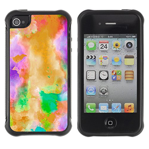 Mystical Abstract Watercolor Art - Heavy Duty Armor Shockproof Silicone Cover Rugged case for Apple Iphone 4 / 4S
