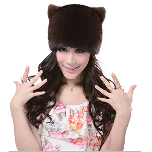 URSFUR Women's Mink Full Fur Cat Girl Hats (One Size, Coffee) by URSFUR