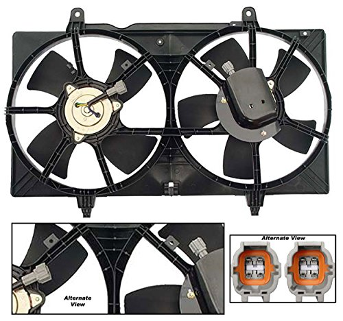 APDTY 731520 Dual Radiator & AC Condenser Cooling Fan Blade Motor Shroud Assembly Fits 2002-2006 Nissan Altima 2003-2008 Nissan Maxima (Replaces 214818J001, 214818J01A, 21481-8J100, 214818J110) (Shroud Nissan Replacement Fan)
