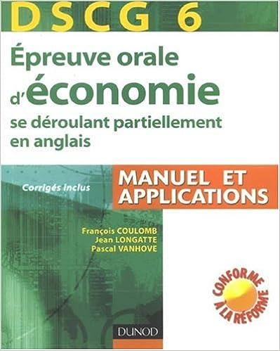Lire Epreuve orale d'économie se déroulant partiellement en anglais : DSCG 6 pdf, epub ebook