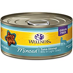 Wellness Complete Health Natural Grain Free Wet Canned Cat Food, Minced Tuna Dinner, 5.5-Ounce Can (Pack Of 24)