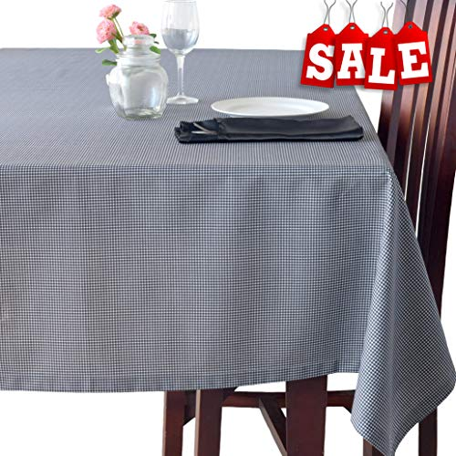 (Poly-Cotton Linen Oblong Black Tablecloth - Stain Resistant French Rectangular & Square Kitchen Table Cloth - Dinner Table Christmas New Year Eve Easter Dinner Gift(BLACK Checkered, Rectangle 60