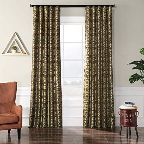 HPD Half Price Drapes PTFFLK-C7-84 Flocked Faux Silk Curtain, 50 x 84, Firenze Fern