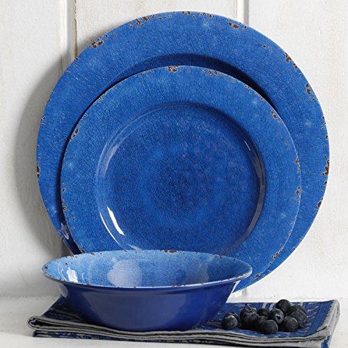 Studio California Mauna 12 Piece Melamine Dinnerware Set, Cobalt Blue