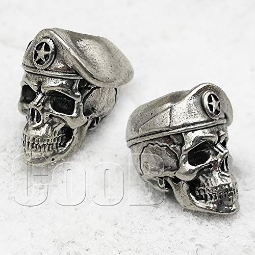 CooB EDC Paracord Bead Beads U.S. Army Special Forces Skull Soldier Charm Pendant DIY Hand-Casted Paracord Beads Charms for Paracord Bracelet Knife Lanyard 1pcs/Lot (Soldier Skull Silver)