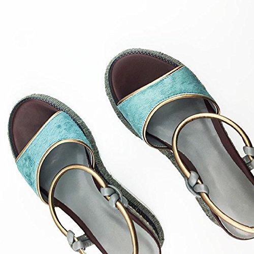 Azul Sandalias Romanos Retro Boho Para De Marino Zapatos Gtyw Ribbon Playa Mujer Cuña Plataforma Blue 4aARxq8