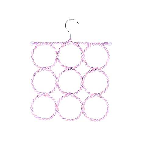 Vosarea Organizador para Pañuelos Bufandas Percha con 9 Anillos Aleatorio Color