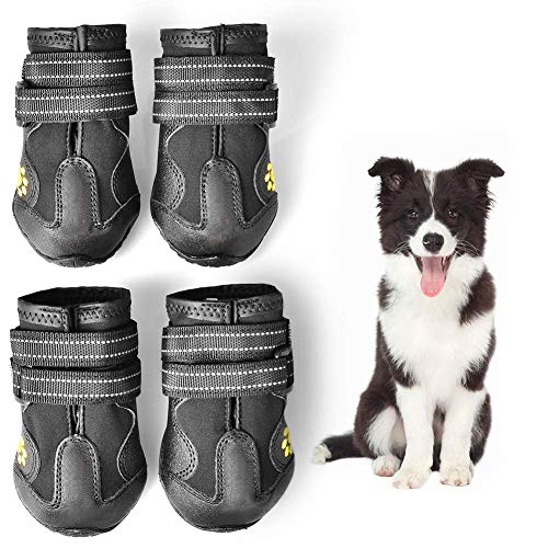 Ruff Booties Dog Wear - WUXIAN Waterproof Dog Shoes,Dog Outdoor Shoes, Running Shoes for Dogs,Pet Rain Boots, Labrador Husky Shoes for Medium to Large Dogs,Rugged Anti-Slip Sole and Skid-Proof- 4Pcs