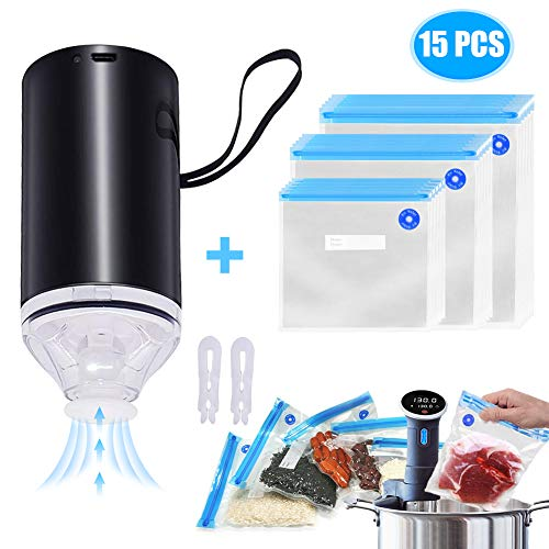 PYRKIA Mini Vacuum Sealer for Sous Vide Bag,USB Rechargeable Automatic Electric Air Pump with 15 Food Vacuum Seal Bags (black)