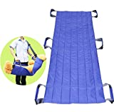 LUCKYYAN 6 Handle Lengthened Nursing Shift Belt - 61.41'' x 28.34'' Slide Sheet for Patients who are able to assist - Blue