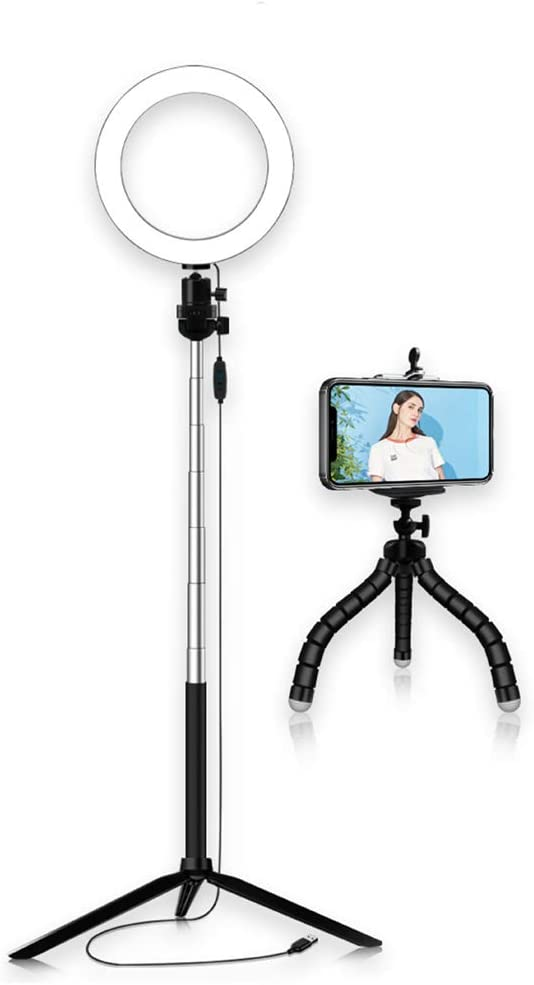 ZTCWS 3 2 in-one Selfie Ring Light 3 Color Modes and 10 Brightness dimmable Phone Stand for Real-time Streaming 20cm Suit with Tripod Video Shooting