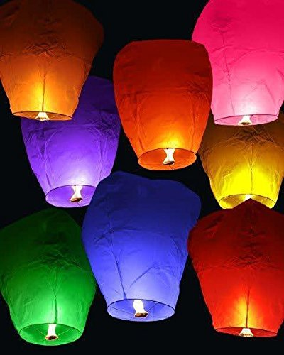 MY PARTY SHOP Sky Lanterns (Pack of 5, Multicolour)