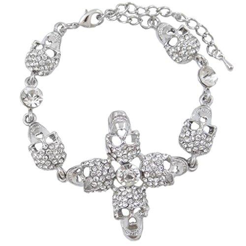 EVER FAITH Austrian Crystal Halloween Gothic Skull Link Bracelet Clear Silver-Tone by EVER FAITH